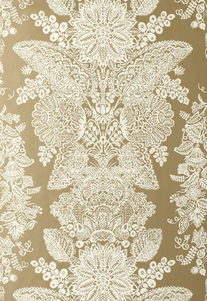Schumacher Lace Wallpaper Champagne
