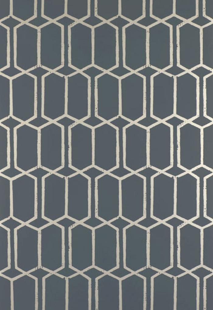 Schumacher Modern Trellis Wallpaper Charcoal Metallic