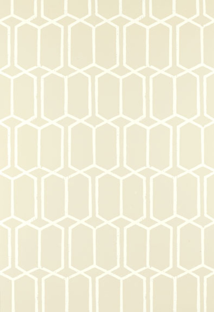 Schumacher Modern Trellis Wallpaper Alabaster