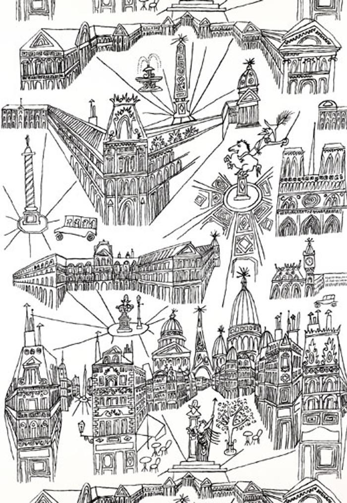 Schumacher Views of Paris Wallpaper Black on White