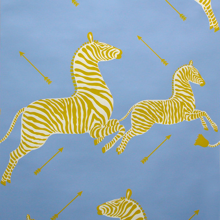 Scalamandre Zebras Wallpaper Periwinkle Blue