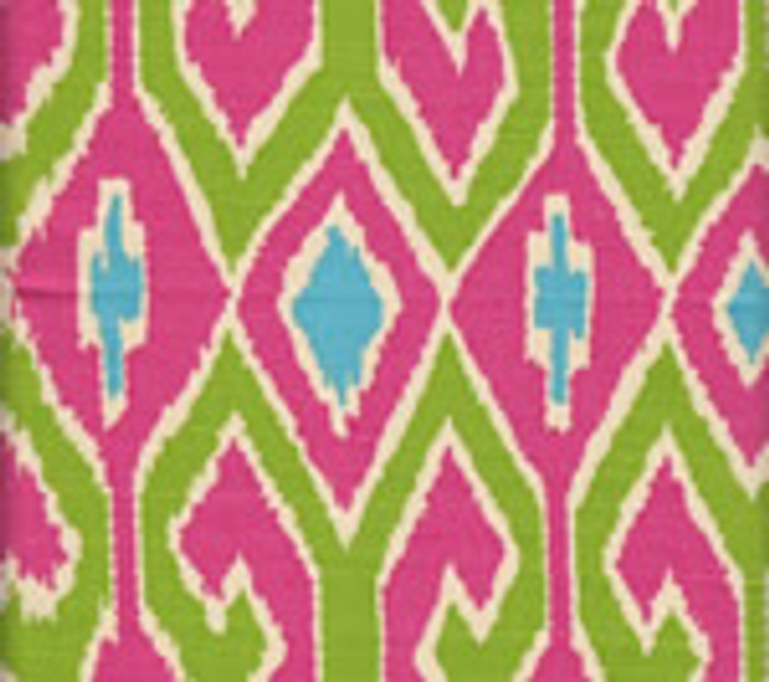 Quadrille Aquarius Jungle Green/Pink on Cream