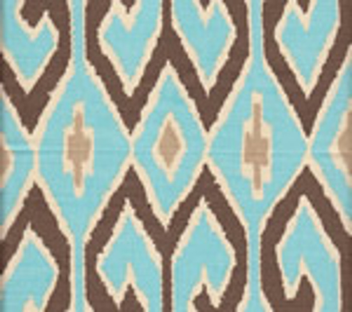 Quadrille Aquarius Turquoise/Brown with Beige on Cream