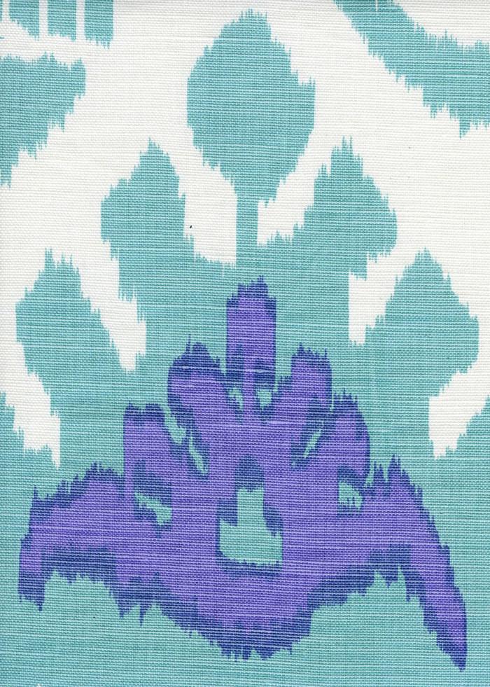 Quadrille Kazak Aqua Lilac on White
