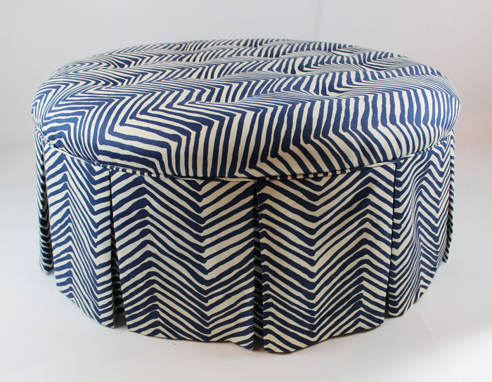 "Custom 40"" Round Tufted Ottoman by Lynn Chalk in Quadrille Zig Zag in Navy"