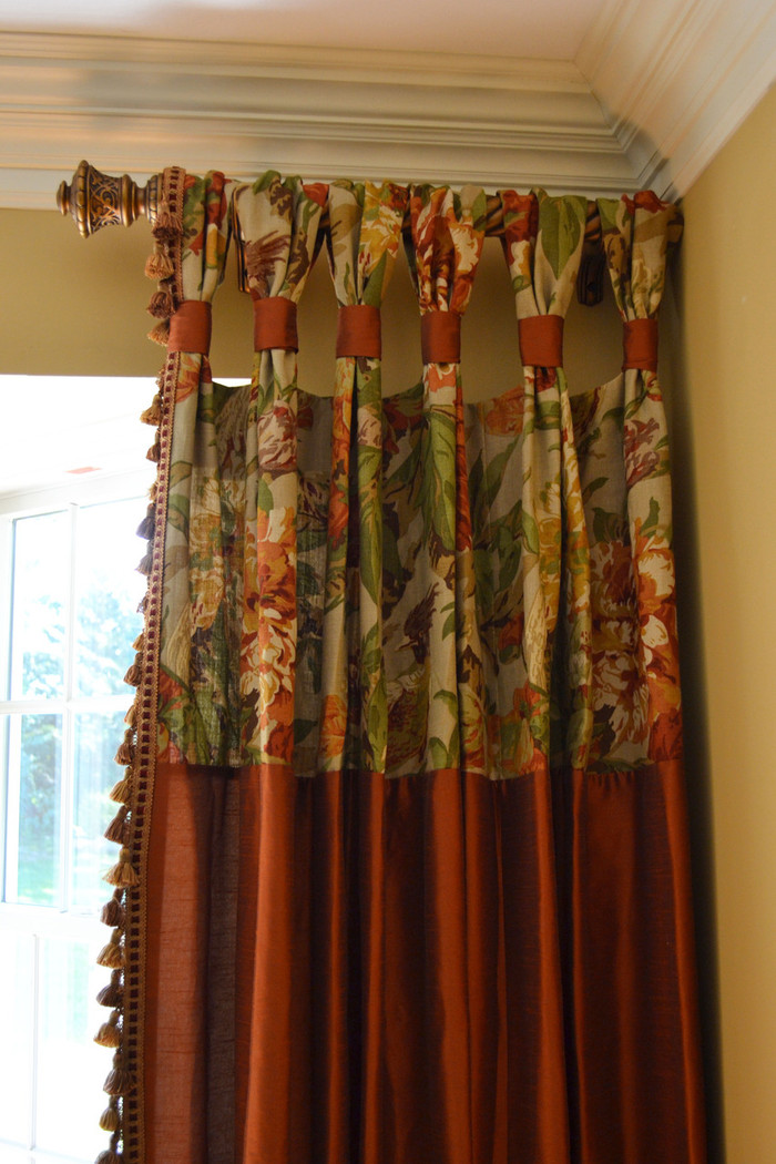 Gathered Tap Top Drapes for Dining Room -Custom Drapes by Lynn Chalk