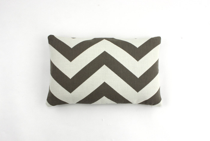 ON SALE Schumacher Antibes Chevron in Driftwood Indoor/Outdoor Pillow (Both Sides-12 X 18)