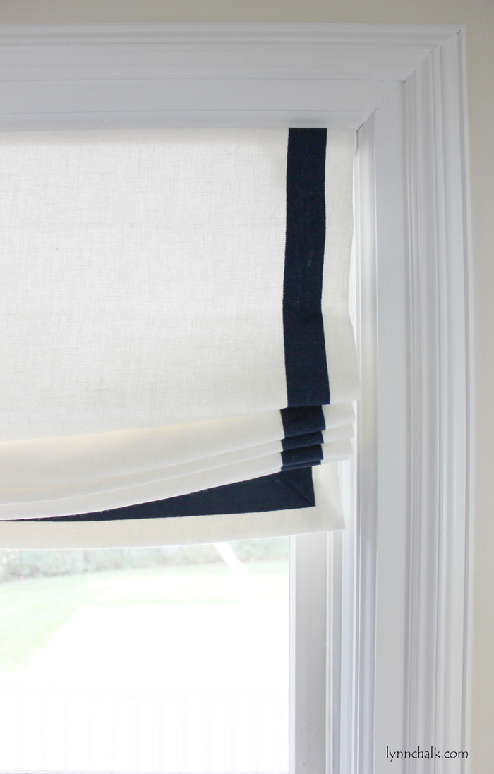 Casual Relaxed Roman Shades in Kravet Linen 32344-1 with Samuel and Sons Navy 977-44932  1.5 inches Grosgrain Ribbon