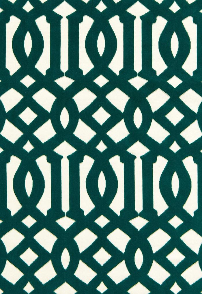65590 Schumacher Kelly Wearstler Fabric Imperial Trellis Velvet Peacock