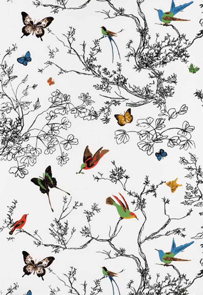 Schumacher Birds and Butterflies Fabric Multi on White