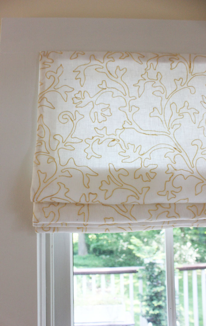 Custom Roman Shade by Lynn Chalk in Robert Allen Makers Mark in Bisque