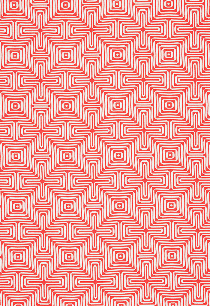 Trina Turk Amazing Maze Indoor/Outdoor in Coral for Schumacher