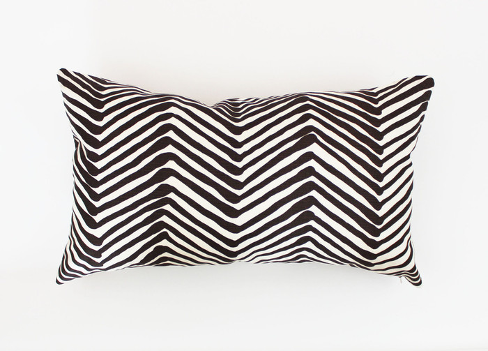 """Quadrille Alan Campbell Zig Zag - Brown 14"""" X 24"""" Pillow (Both Sides)"""