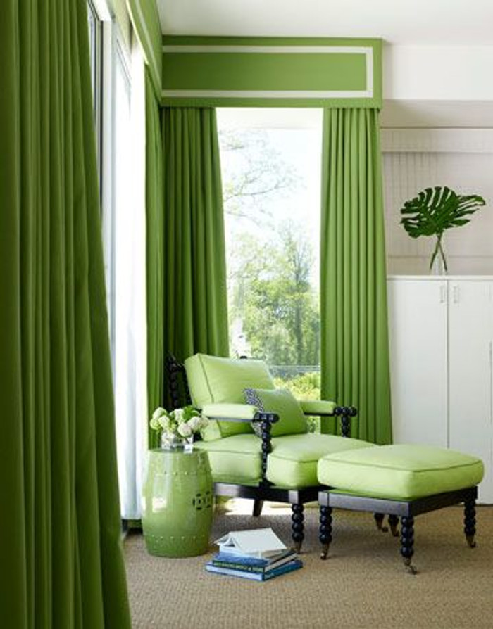 Green Drapes and Box Valance trimmed in Samuel & Sons Grosgrain Ribbon Trim