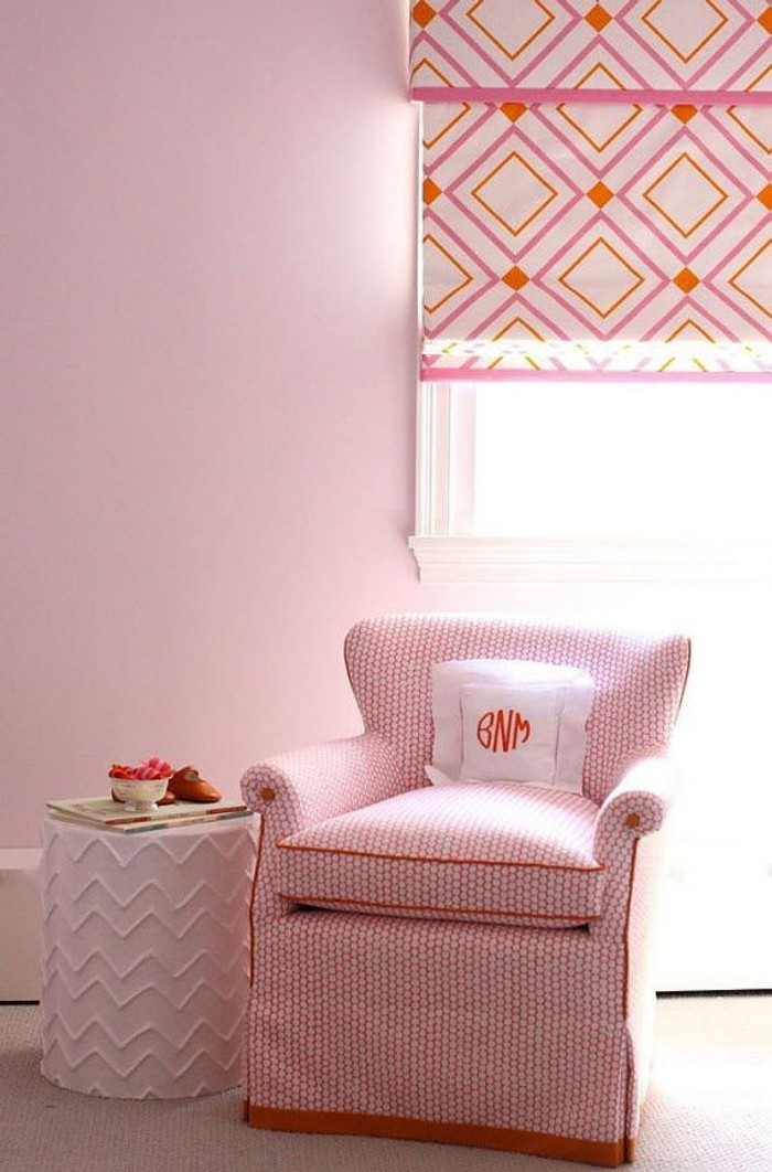 Roman Shade in Victoria Hagan Diamond Lights Pink/Orange
