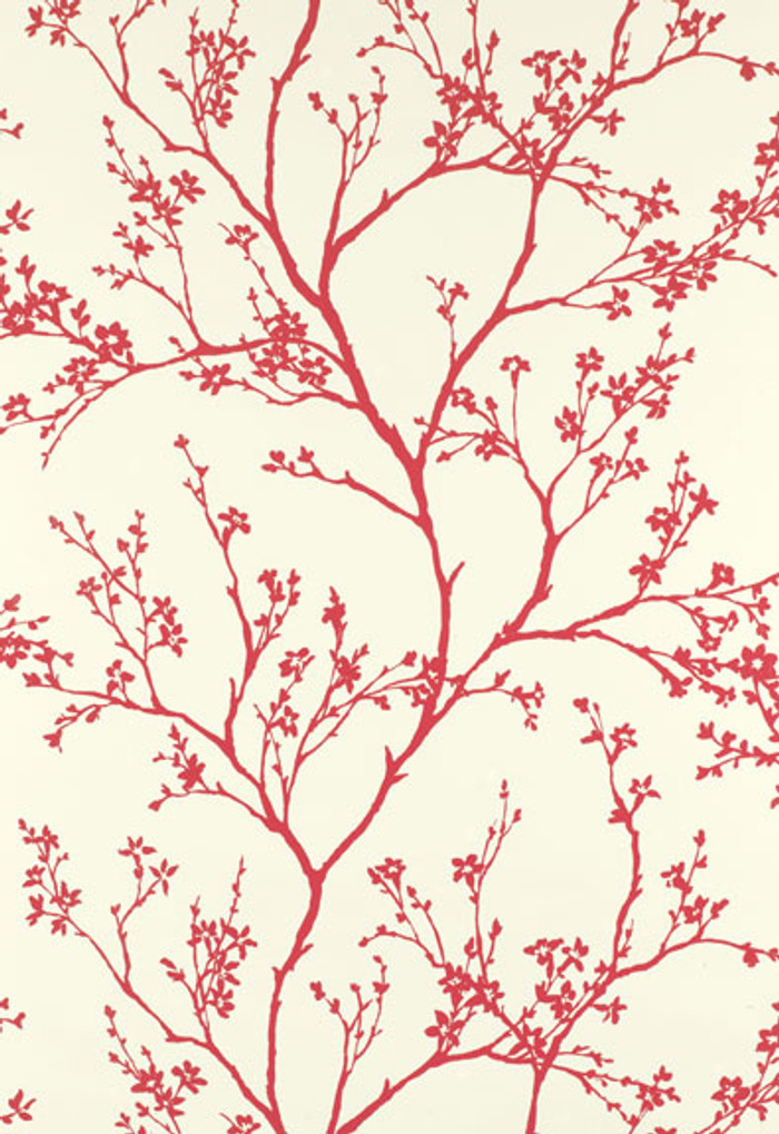 Schumacher Twiggy Wallpaper in Raspberry
