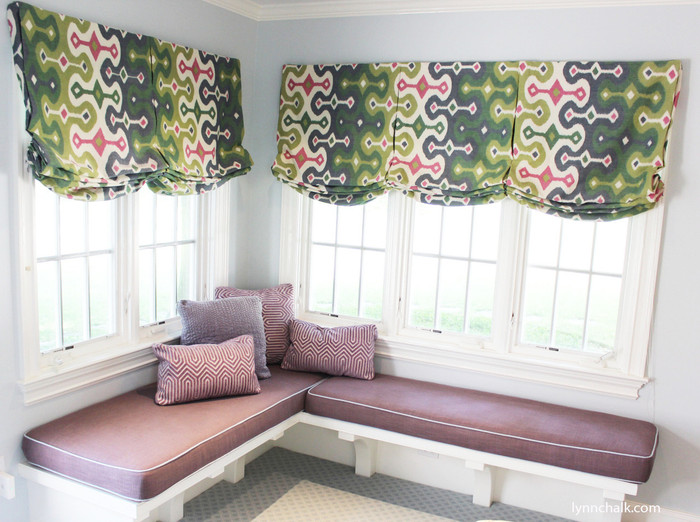 Custom Casual Shades, Cushions and Pillows by Lynn Chalk.  Casual Shades in Martyn Lawrence Bullard Darya Ikat Jewel.  Cushions in Kravet 2012122 Adele in Orchid with Welting in Chambray.  Pillows in Duralee Maestro in Lavender 15395 and Senegal 15383-43 in Lilac.