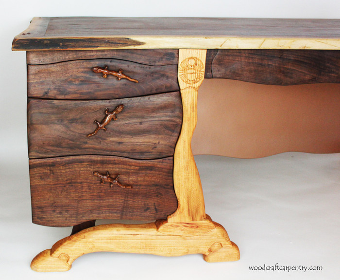 Custom Hand Carved Walnut Desk with Live Edge by Scott Clarke