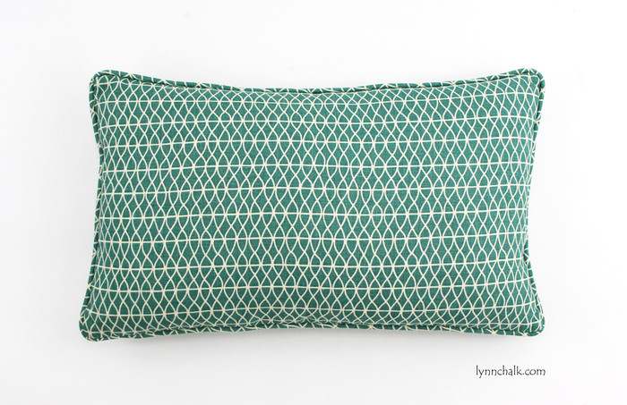 Custom Pillow by Lynn Chalk in Larry Laslo Aquatic (shown as 12 x 24 with self welting)