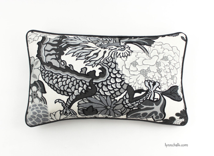 ON SALE Schumacher Chiang Mai Dragon Custom Pillow in Smoke with Grey Welting (14 X 24)-Only 1 Remaining at this Sale Price