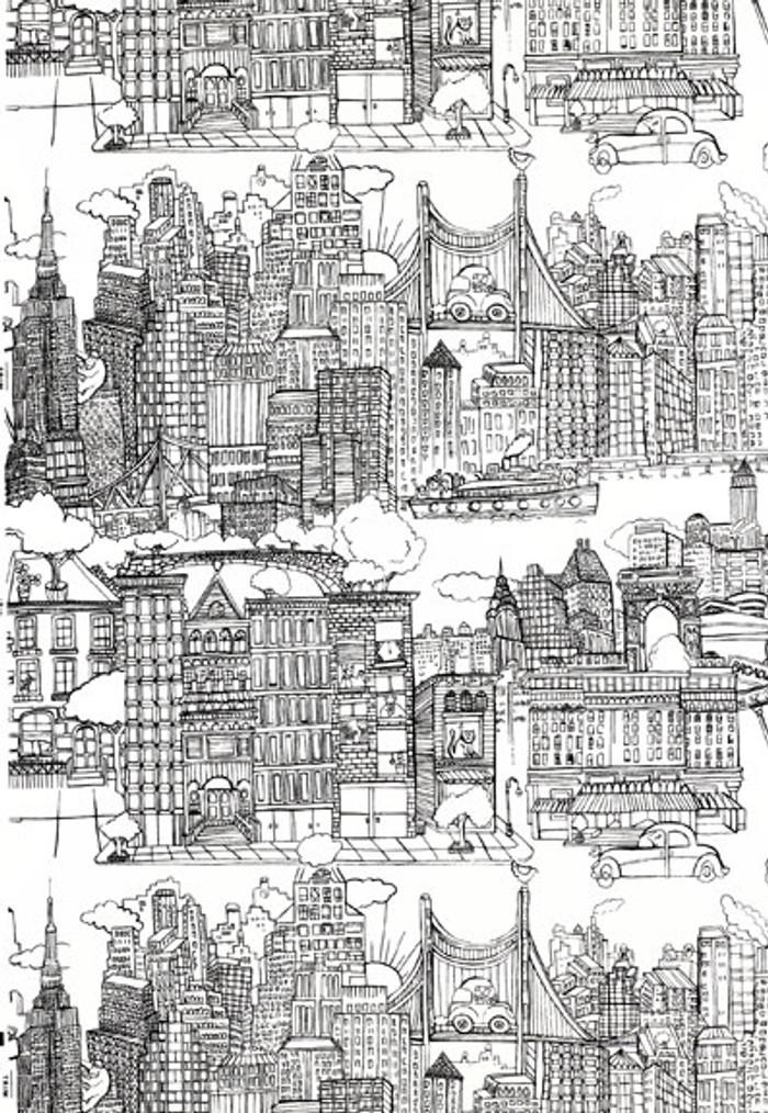 schumacher new york new york fabric black on white