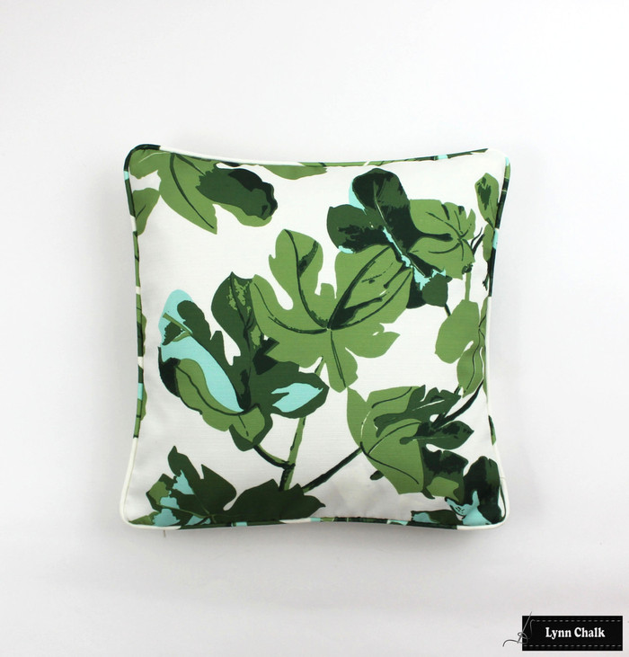 Peter Dunham Fig Leaf on White Linen Pillows with Self Welting
