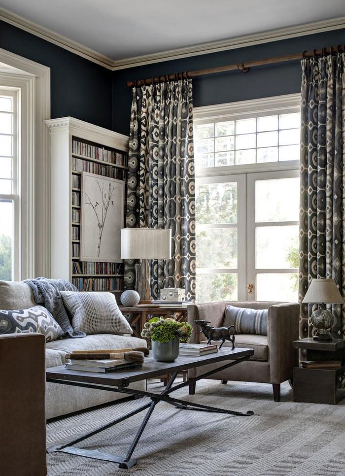 Living Room Drapes on Large French Doors Martyn Lawrence Bullard Darya Ikat (Honey Collins Interior Design)