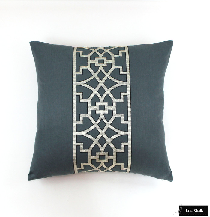 Schumacher Mary McDonald Don't Fret Pillow in Bleu Marine
