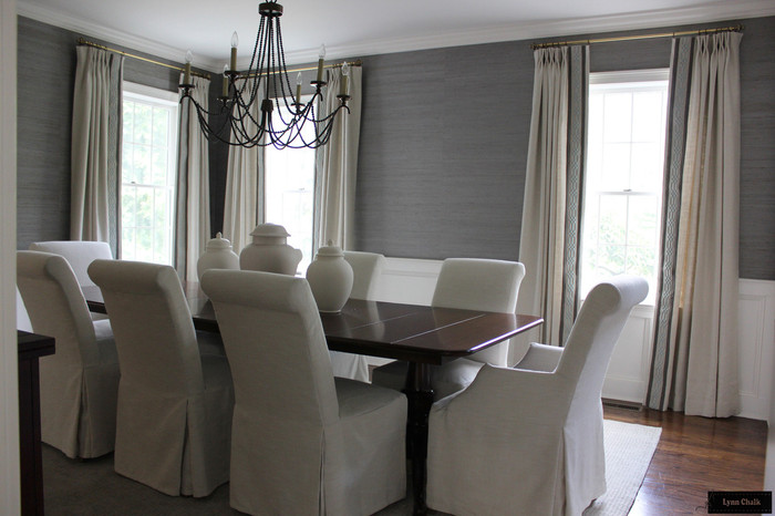 Dining Room featuring Linen Drapes with Border and Trim by Lynn Chalk