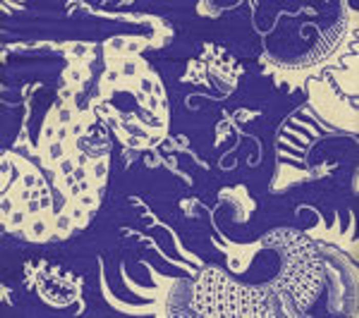 Indramayu Reverse Cream on French Blue 103-0210
