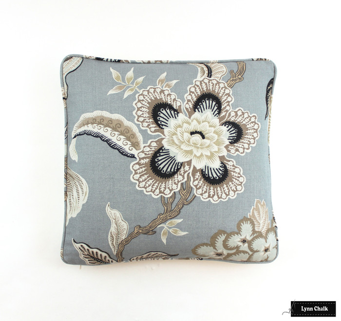 Hothouse Flowers in Mineral Pillow with Self welting (18 X 18)
