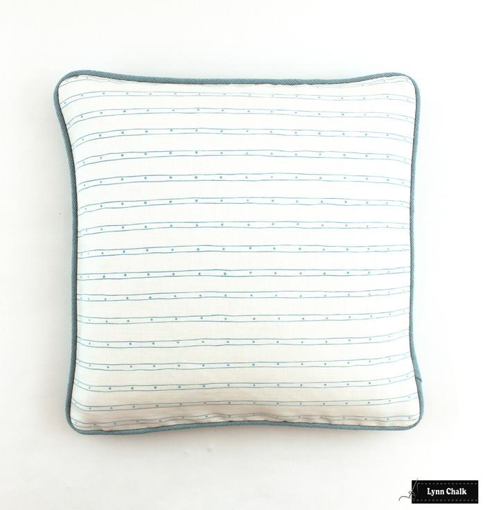Quadrille Soho Custom Color Blue on White Pillow with Robert Allen Heirloom in Dew Welting (18 X 18)