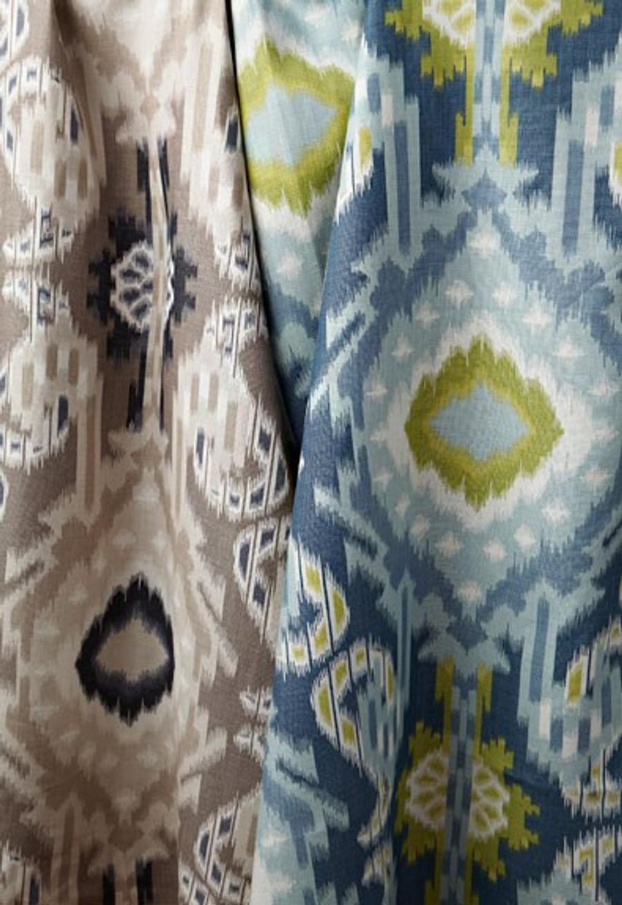 Kribati Ikat in Linen and Aquamarine