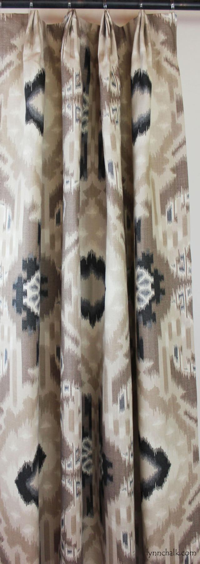 Custom Fan Pleated Drapes in Kiribati Ikat in Linen
