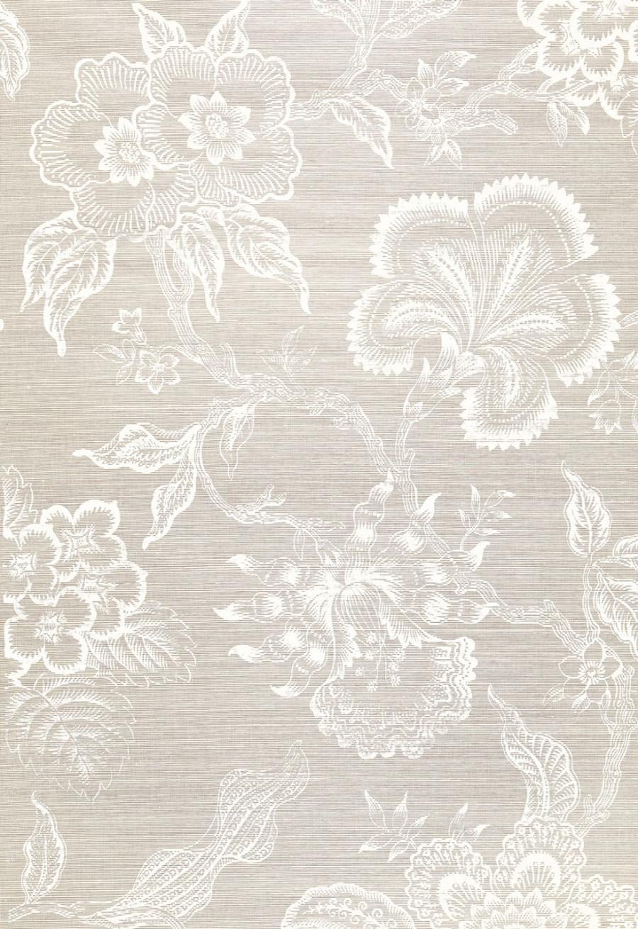 Celerie Kemble for Schumacher Hothouse Flowers Sisal Fog & Chalk Wallpaper