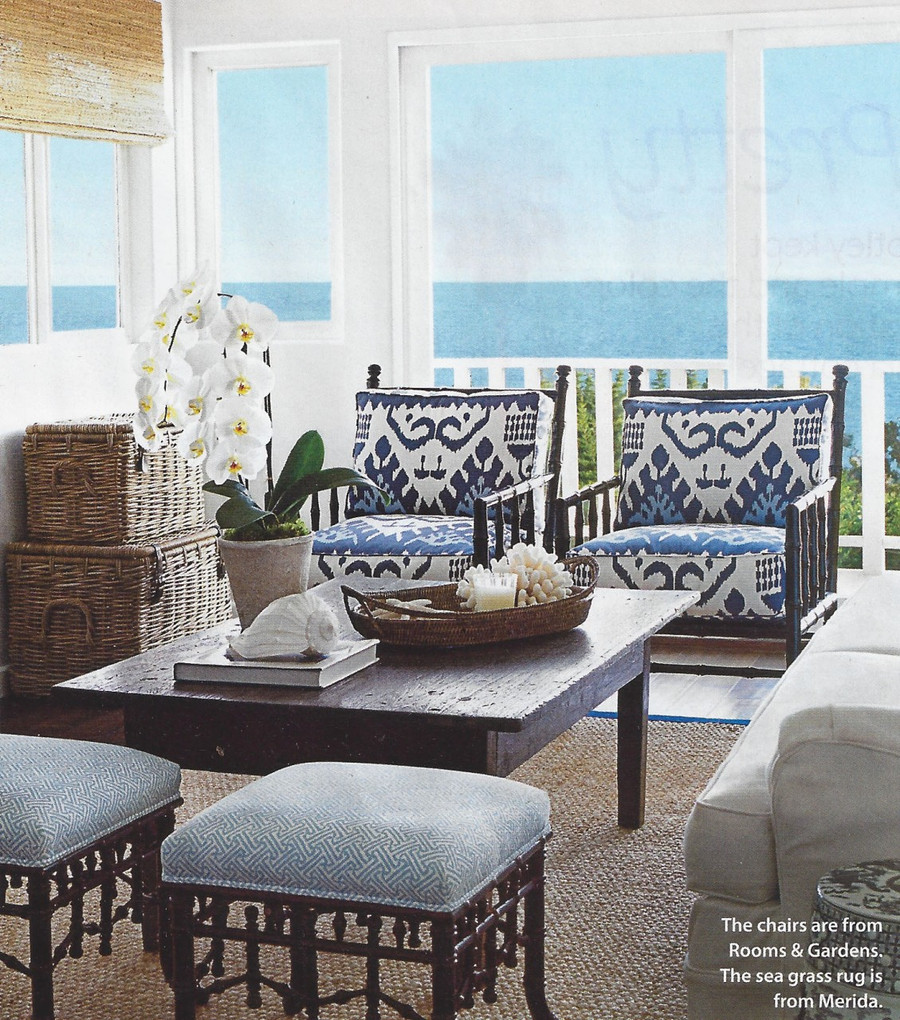 Quadrille Kazak Blue Suncloth on Chairs, Stools covered in Quadrille Java Java in New Blue on White (Coastal Living June 2013)