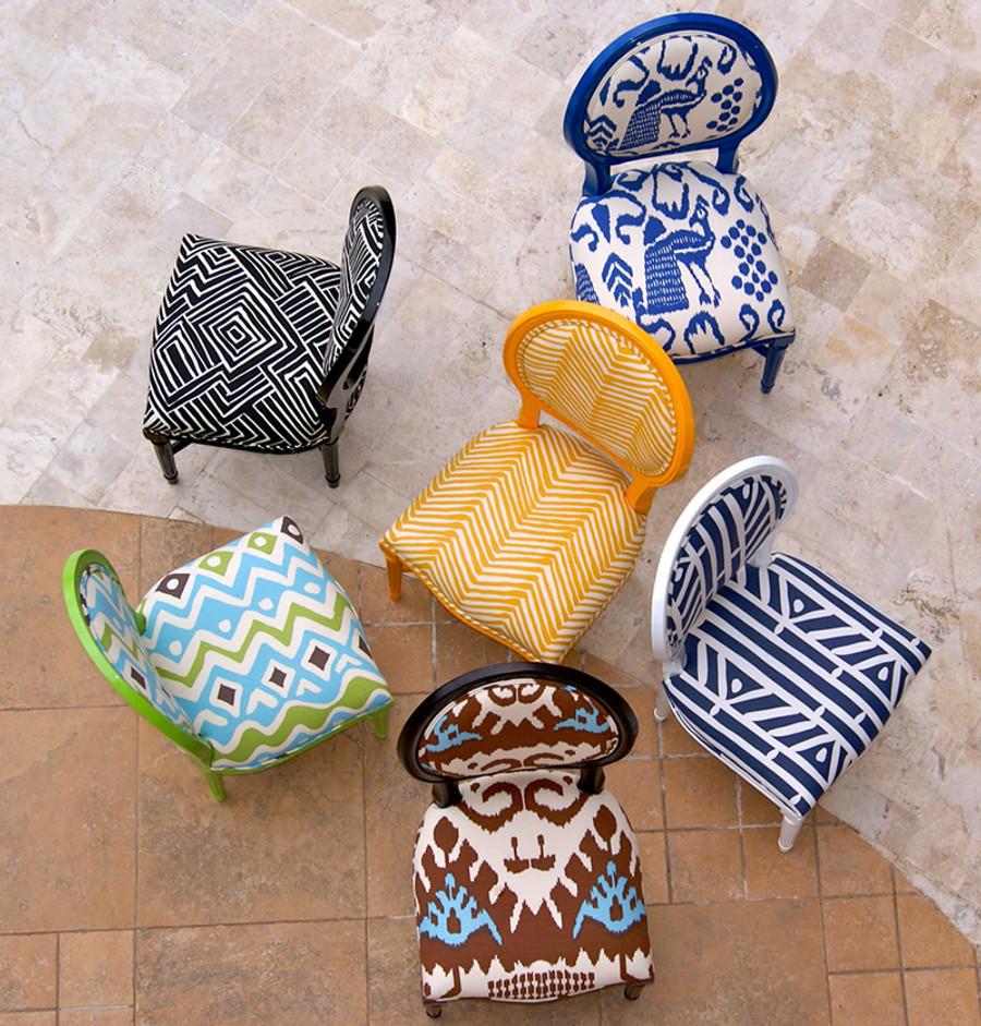 Quadrille Fabrics on Chairs - Bali Isle, Melinda, Zig Zag, Cap Ferrat, Candu, Kaza in Tobacco French Blue (Gabriela Ortiz)