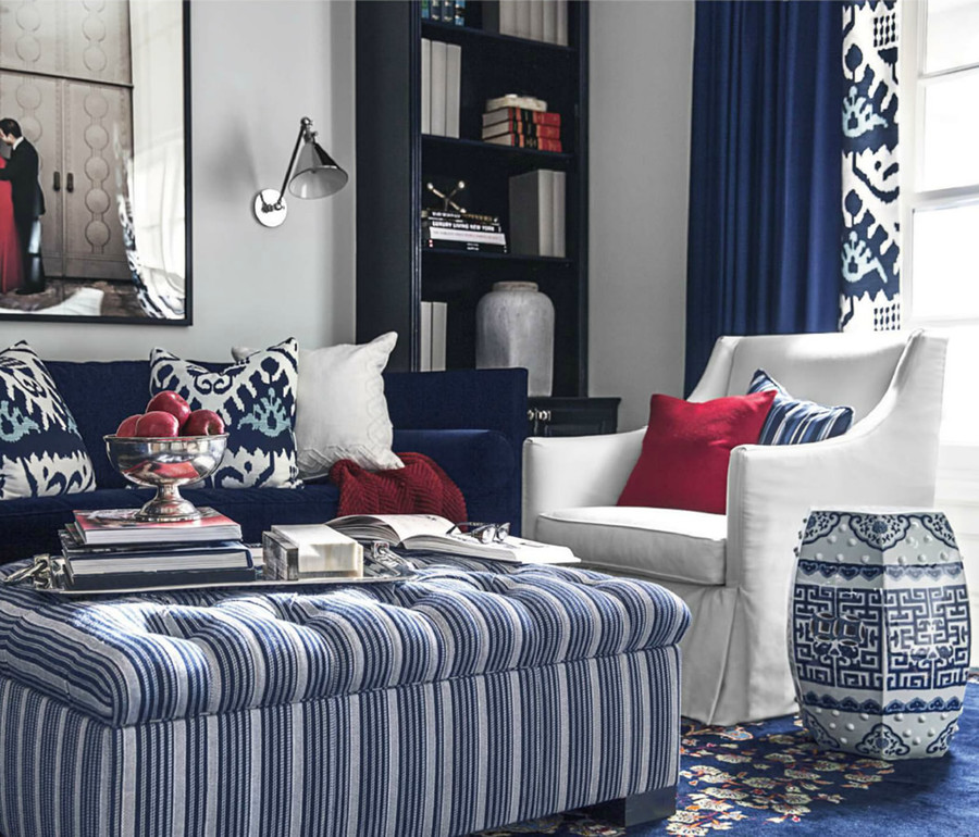 Pillows and Border of Drapes in Quadrille Kazak Blue (Designed by Mary McDonald House Beautiful September 2013)