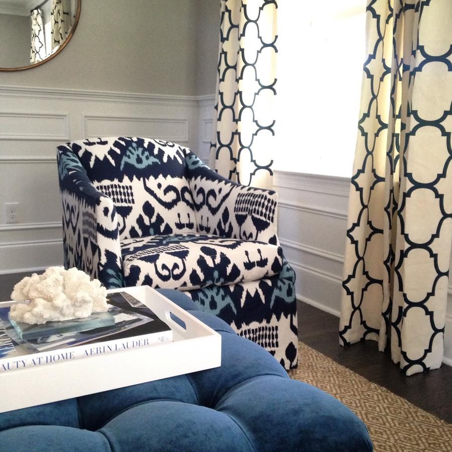 Chairs in Quadrille Kazak and Drapes in Windsor Smith Riad in Indigo (Stephanie Krauss Design)