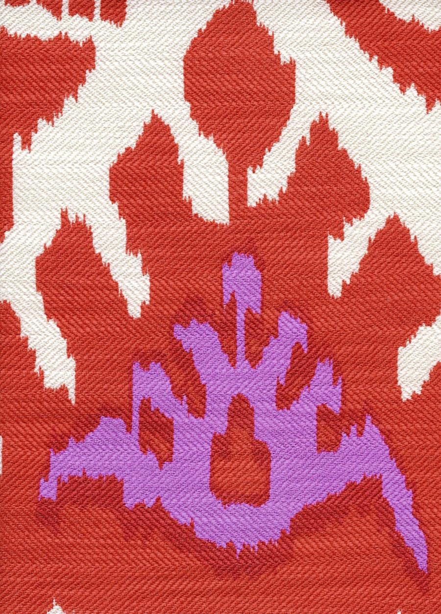 Quadrille Kazak Orange Pink on Silk