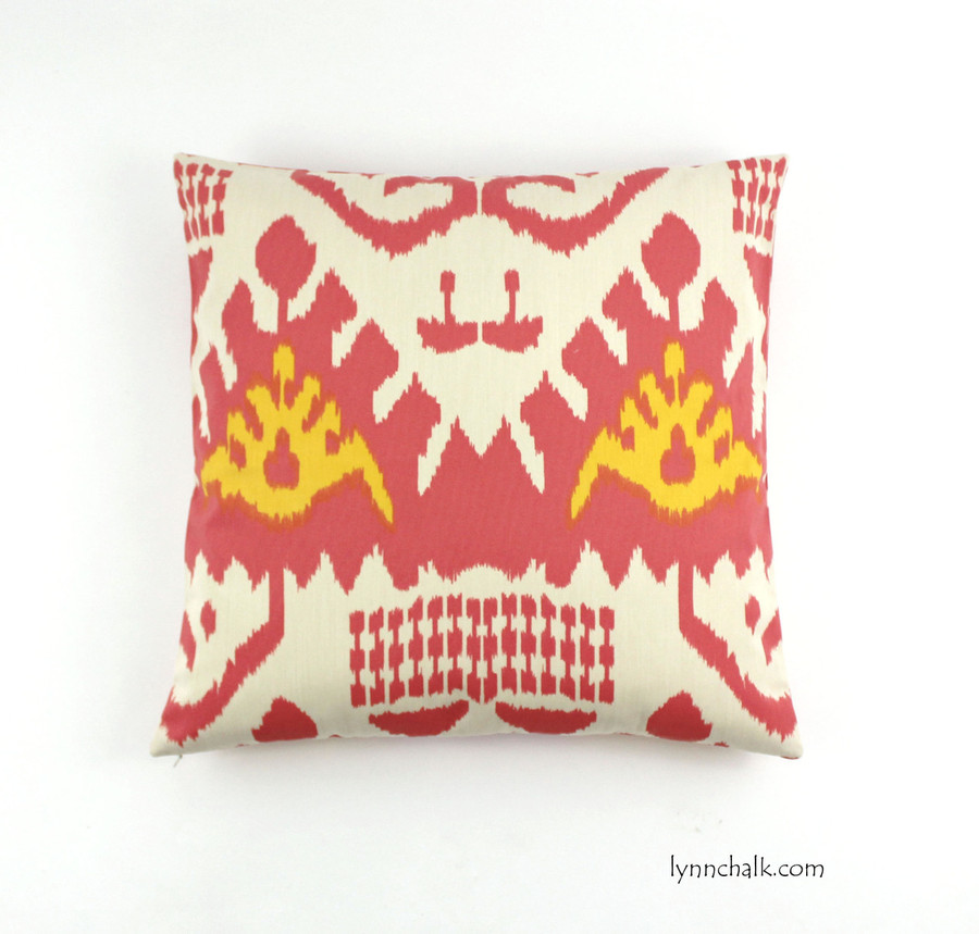 """Custom Pillow by Lynn Chalk in Quadrille Kazak (Shown in Coral and New Yellow 20"""" X 20"""")"""