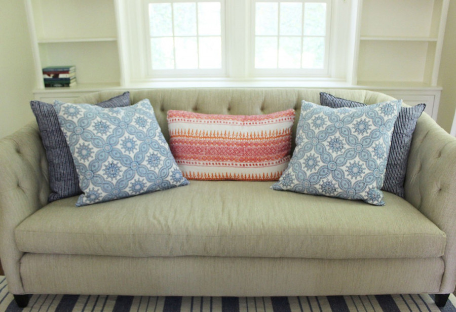 Pillows in John Robshaw Algiers in Lotus, Petra in Cobalt and Aleppo in Indigo