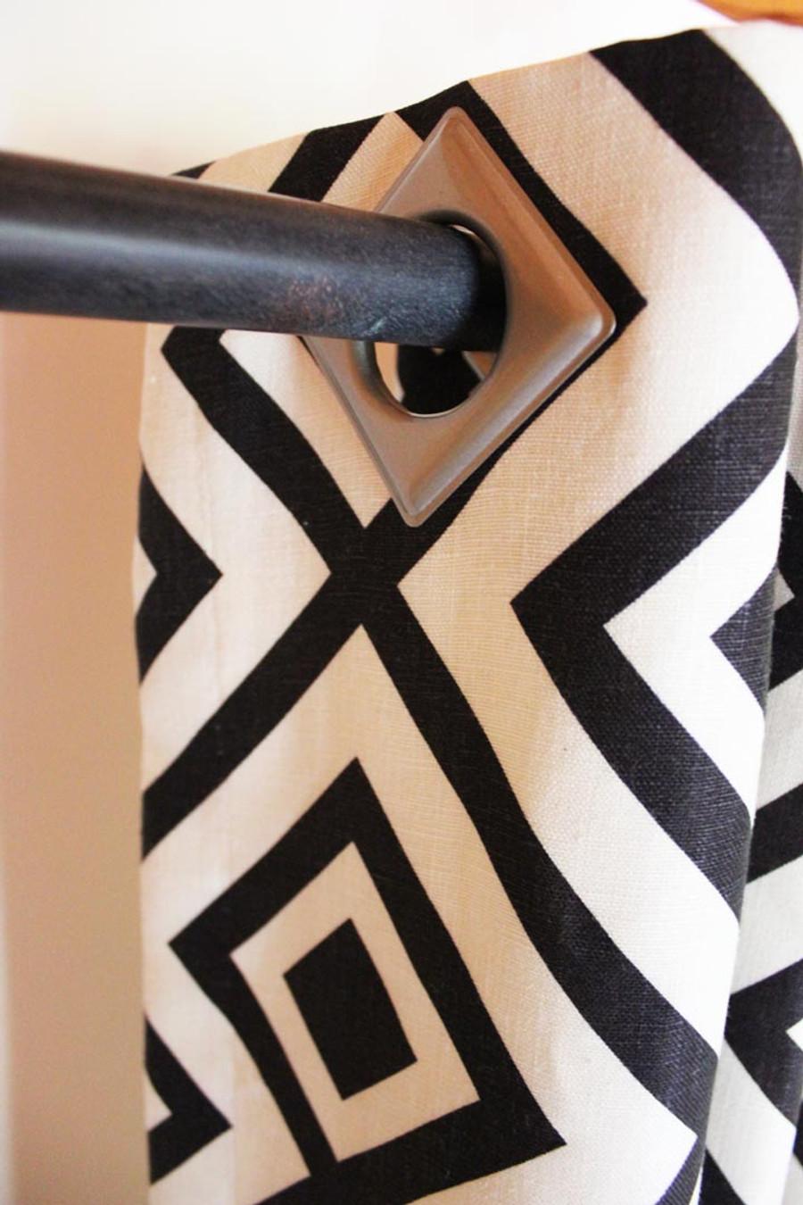 Custom Grommet Drapes by Lynn Chalk in David Hicks La Fiorentina Domino (Grommet is in Matte Nickel)