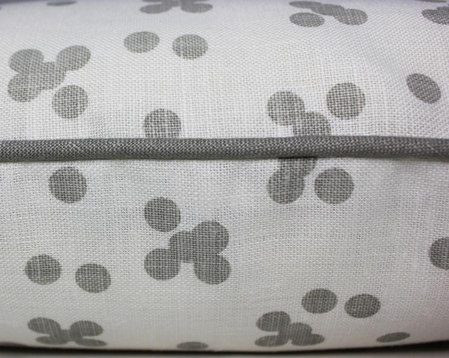 Custom Pillow by Lynn Chalk in Christopher Farr Pollen in Smoke with welting in Robert Allen Kilrush II in Nickel