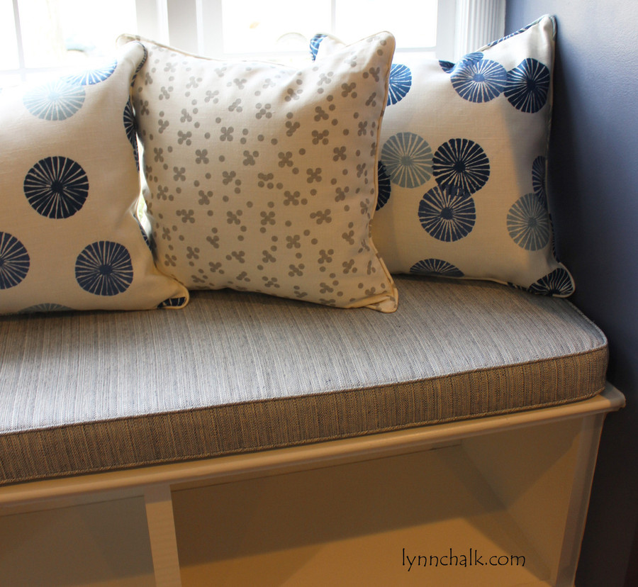 Custom Cushions and Pillow by Lynn Chalk - Pillows Christopher Farr Pollen Pillows in Smoke and Groundworks Kasa Blue.  Cushion in Schumacher Travertine Linen Weave in Denim.