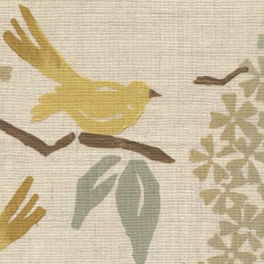 Birds in Pale Yellow on Natural Linen