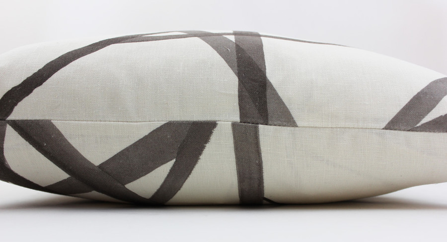 """Kelly Wearstler Channels in Taupe/Ivory Lumbar Pillow Cover 12"""" X 20"""" (Both Sides)"""