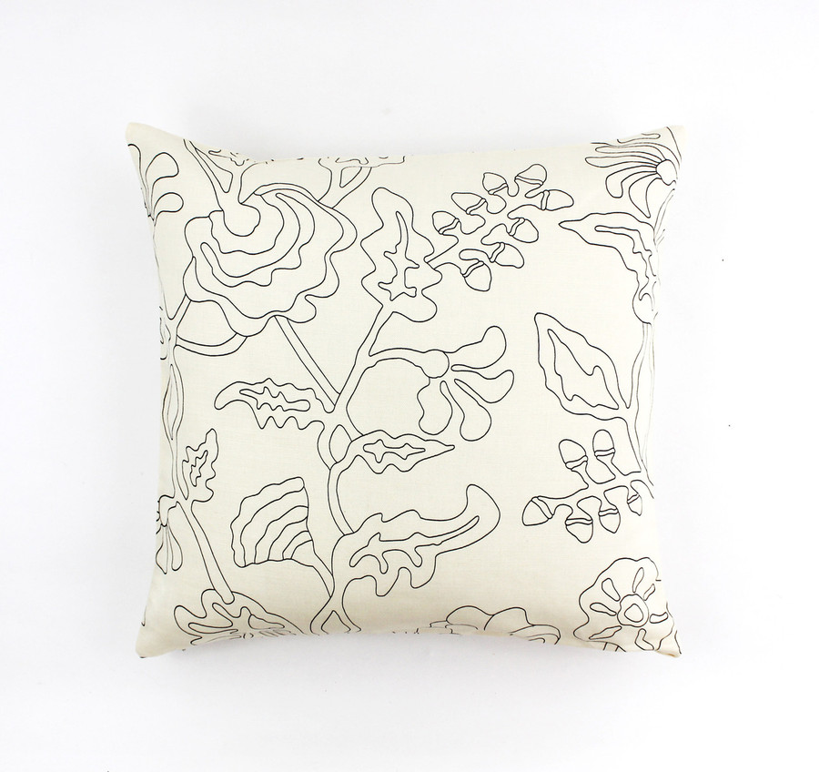 "ON SALE Quadrille Alan Campbell Potalla Outline Black on Tint 21"" Pillow Cover (Both Sides)"
