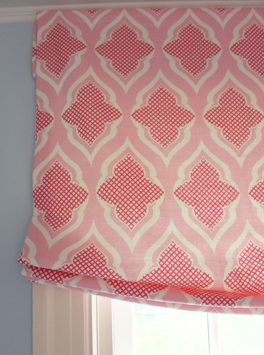 Custom Roman Shades by Lynn Chalk in Venecia Hot Pink