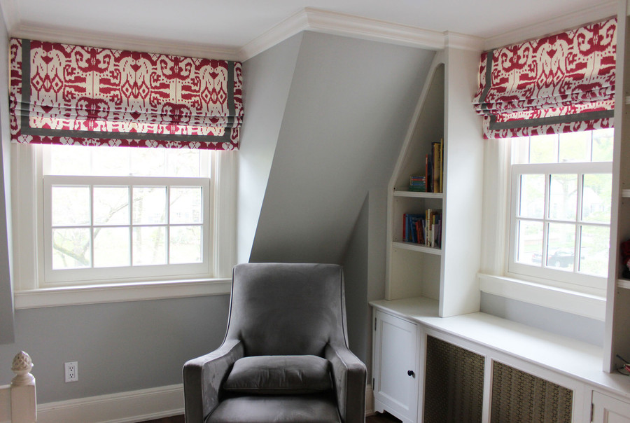 "Custom Roman Shades in Quadrille China Seas Island Ikat in Magenta with Samuel and Sons Steel 977-44932  1.5"" Grosgrain Ribbon"